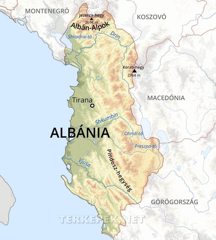 albánia térkép Albánia térképek